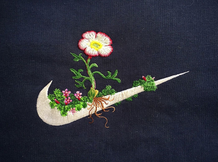 Artist James Merry Decorates Sport Logos With Embroidered Flowers