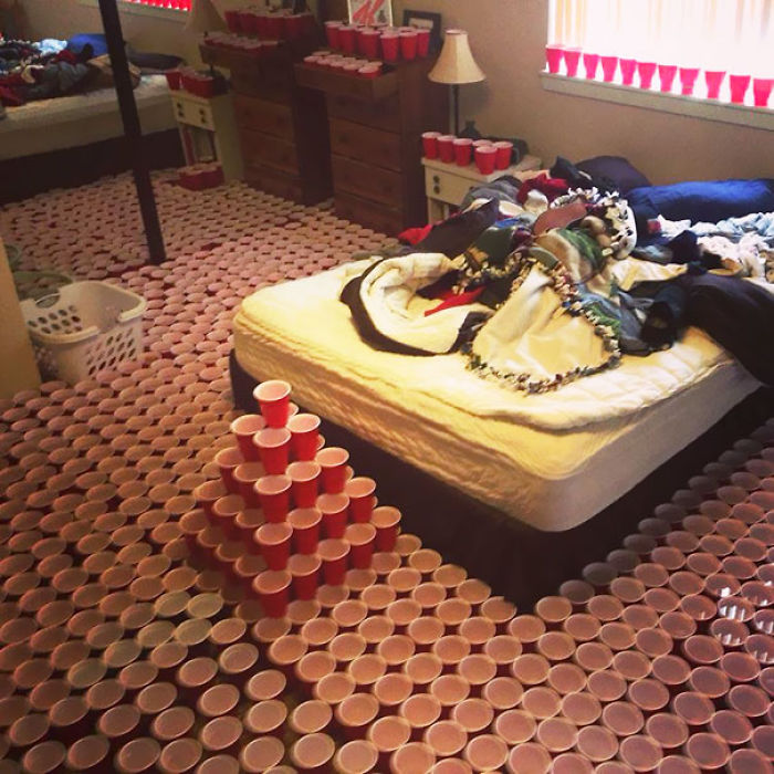1,350 Cups And 200 Gallons Of Water Later, I Think My Buddy Won His Prank War