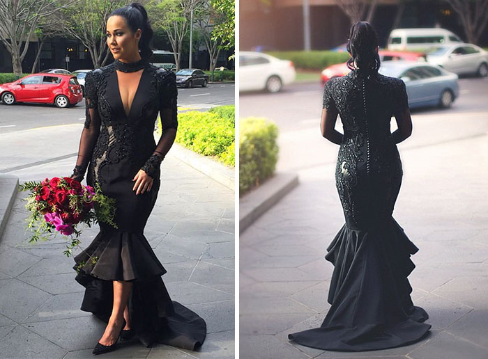Bride Breaks Tradition And Gets Married In Black Wedding Dress