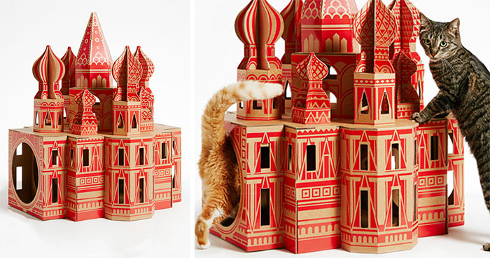 7 Cardboard Cat Houses Inspired By Famous Architectural Landmarks