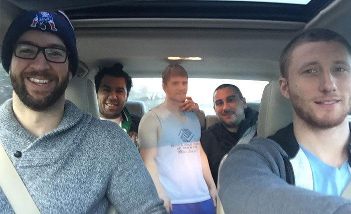 Fiance Wouldn't Let Guy Go On Birthday Trip So Friends Took Him Anyway…As A Cardboard