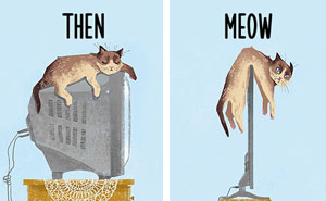 Then vs Meow: How Technology Has Changed Cats' Lives (10+ Pics)