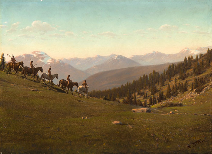 Handpainted Print Depicting Five Riders Going Downhill In Montana. Early 1900s. Photo By Roland W. Reed