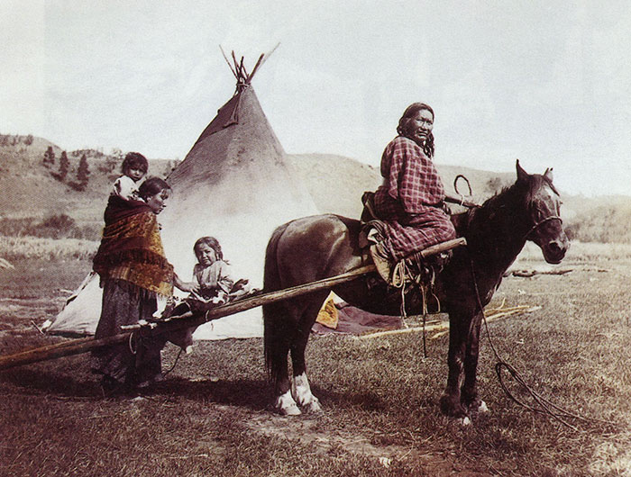 Strong Left Hand And Family. Northern Cheyenne Reservation. 1906. Photo By Julia Tuell
