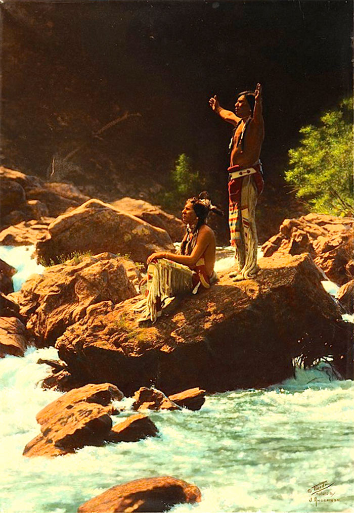 Piegan Men Giving Prayer To The Thunderbird Near A River In Montana. 1912. Photo By Roland W. Reed