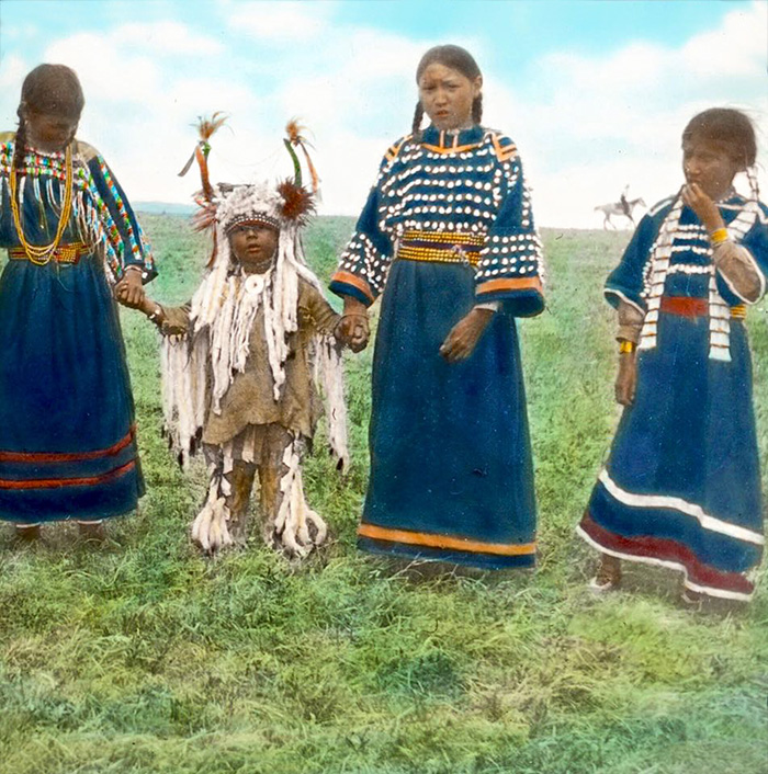 "Blackfeet Children (including ""sa-ko-uka-etsusin""). Montana. Early 1900s. Glass Lantern Slide B"