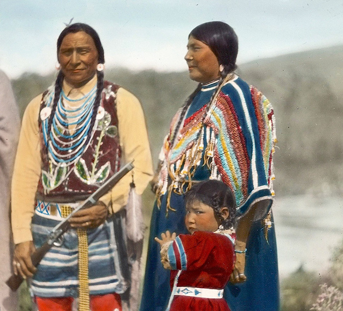 Blackfeet Family. Montana. Early 1900s. Glass Lantern Slide By Walter Mcclintock