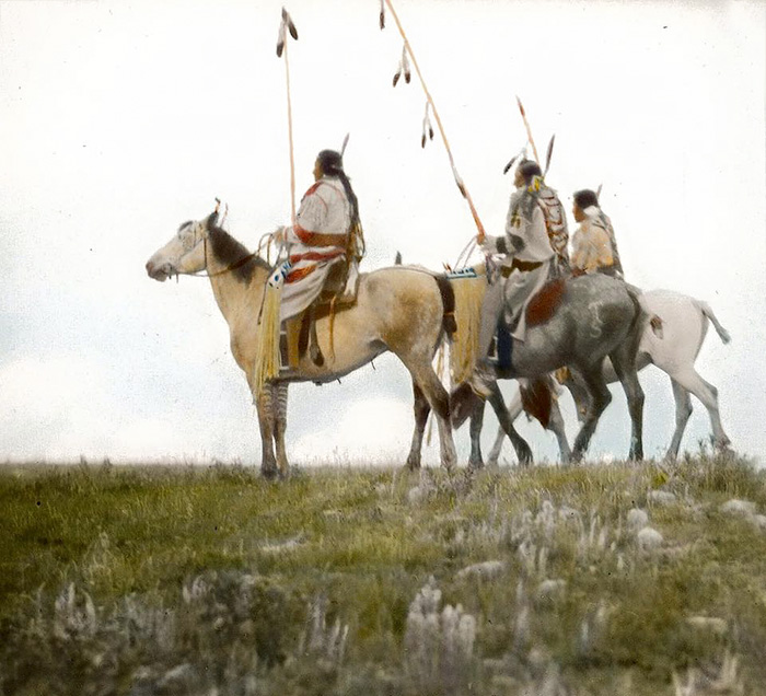 Riders With Coup Sticks. Blackfeet. Montana. Early 1900s. Glass Lantern Slide By Walter Mcclint
