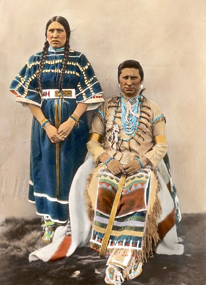 A Blackfoot Couple. Montana. Early 1900s. Glass Lantern Slide By Walter Mcclintock