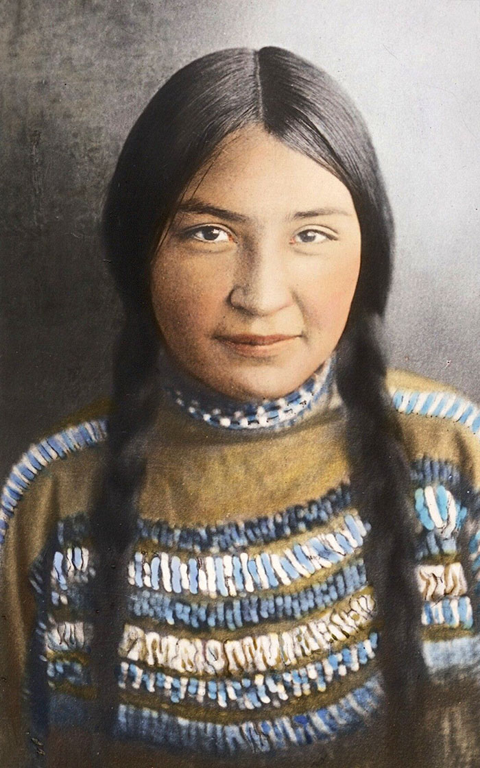 Blackfeet Girl. Montana. Early 1900s. Glass Lantern Slide By Walter Mcclintock
