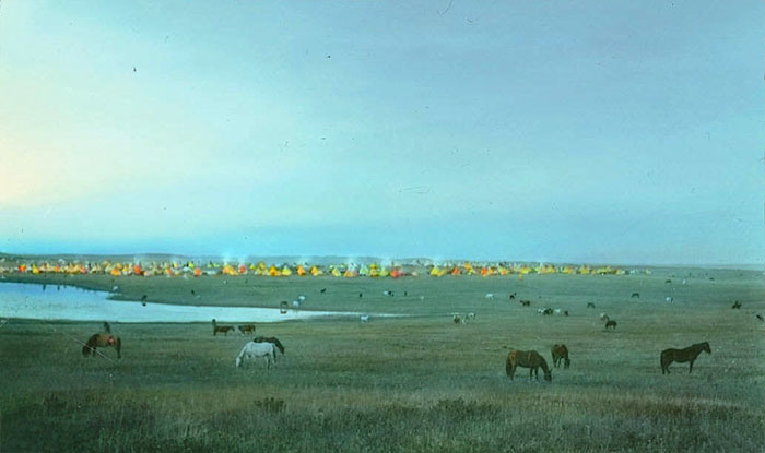 Blackfeet Tribal Camp With Grazing Horses. Montana. Early 1900s. Glass Lantern Slide By Walter Mcclintock