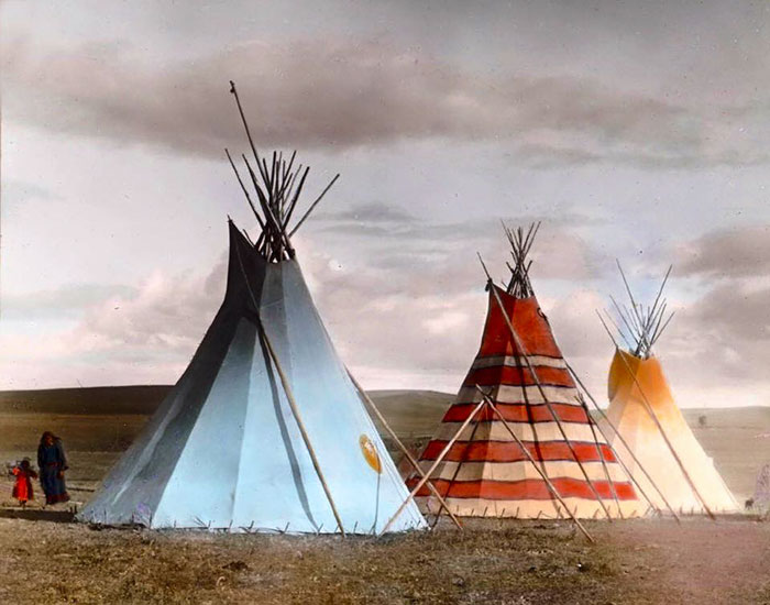 Red Stripe Tipi And The Thunder Tipi. Siksika Camp. Montana. Early 1900s