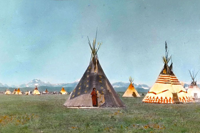 A Woman By The Star Tipi In Blackfoot Camp. Early 1900s