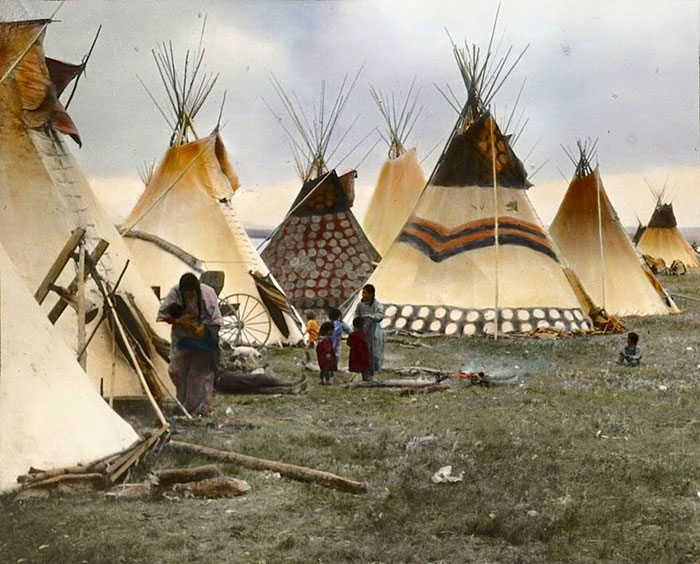 """Painted Tipis Of The Headmen"". Blackfeet. Montana. Early 1900s. By Walter Mcclintock"
