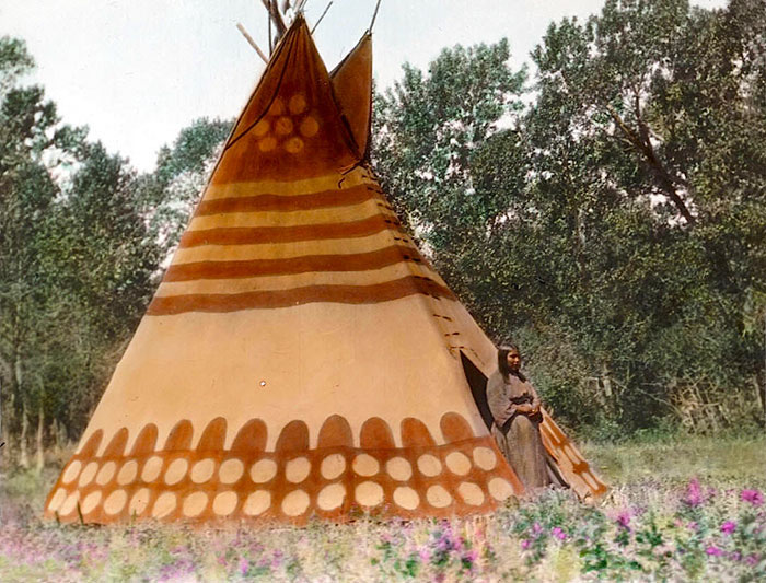 Thunder Tipi Of Brings-down-the-sun. Blackfoot Camp. Early 1900s. Glass Lantern Slide By Walte