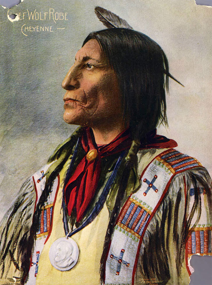 Cheyenne Chief Wolf Robe. Color Halftone Reproduction Of A Painting From A F. A. Rinehart Photograph. 1898