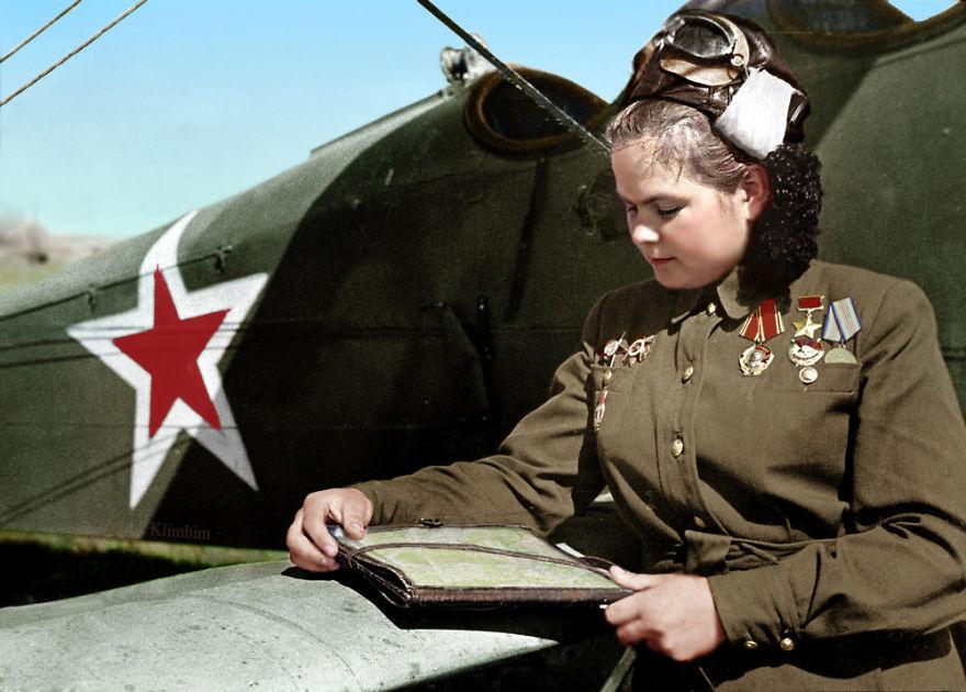 Yekaterina Ryabova, Russian Military Pilot, Heroine Of The Soviet Army, 1945