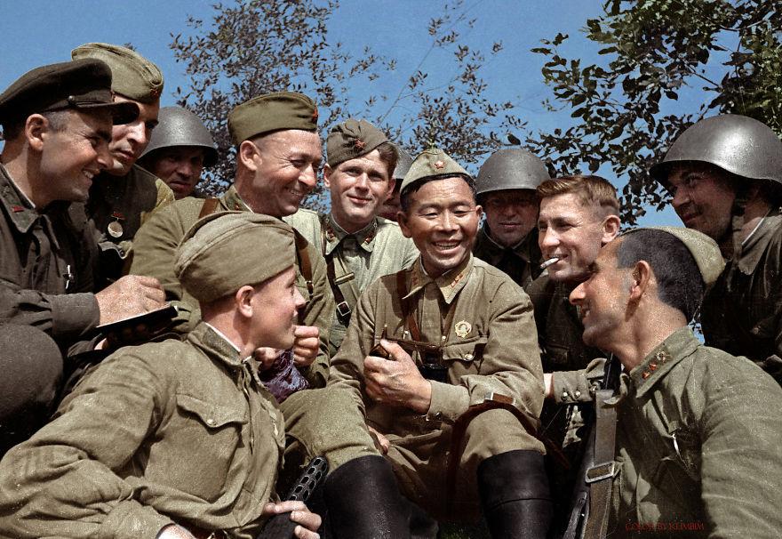 Soviet Sniper Semyon Nomokonov With His Famous Smoking Pipe, 1942