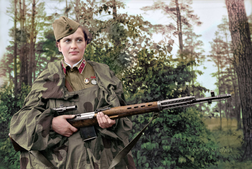 Lyudmila Pavlichenko. Soviet Sniper During World War II. Credited With 309 Kills, She Is Regarded As The Most Successful Female Sniper In History, 1940