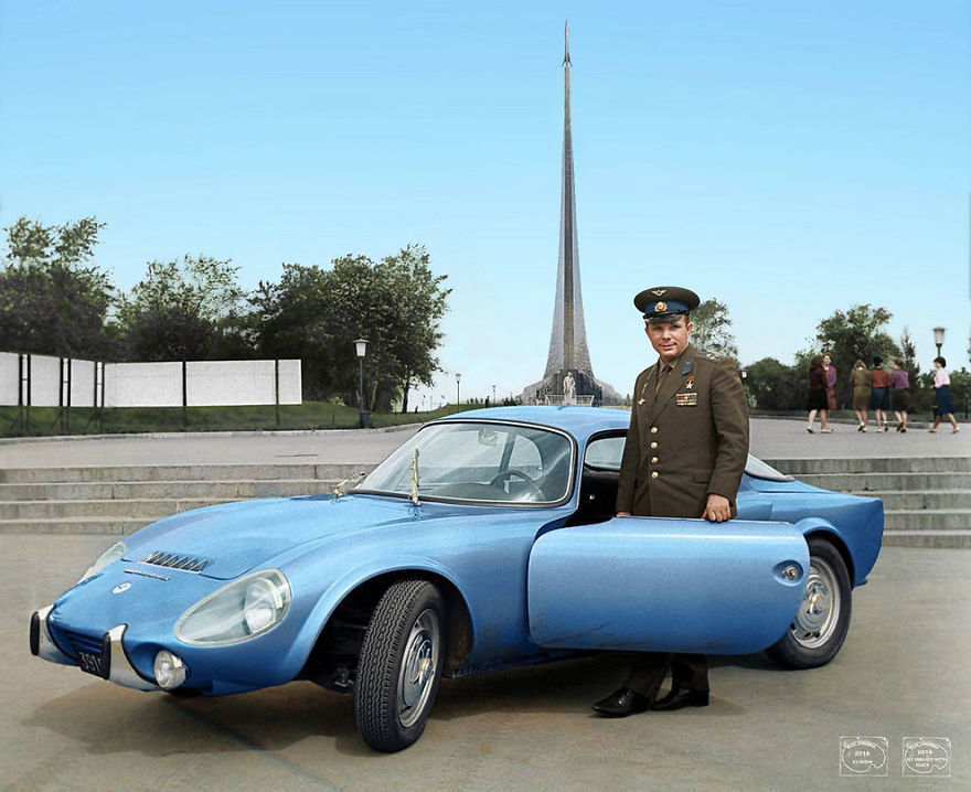 Yuri Gagarin With His Matra Bonnet Djet Vs Coupe, 1965