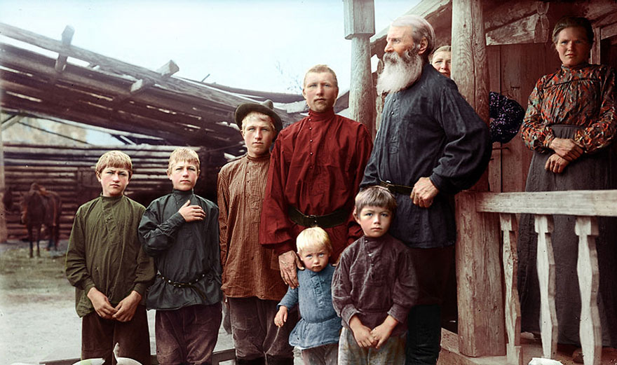 Russian Family, Ekaterinburg Region, Siberia In The Late 19th Century