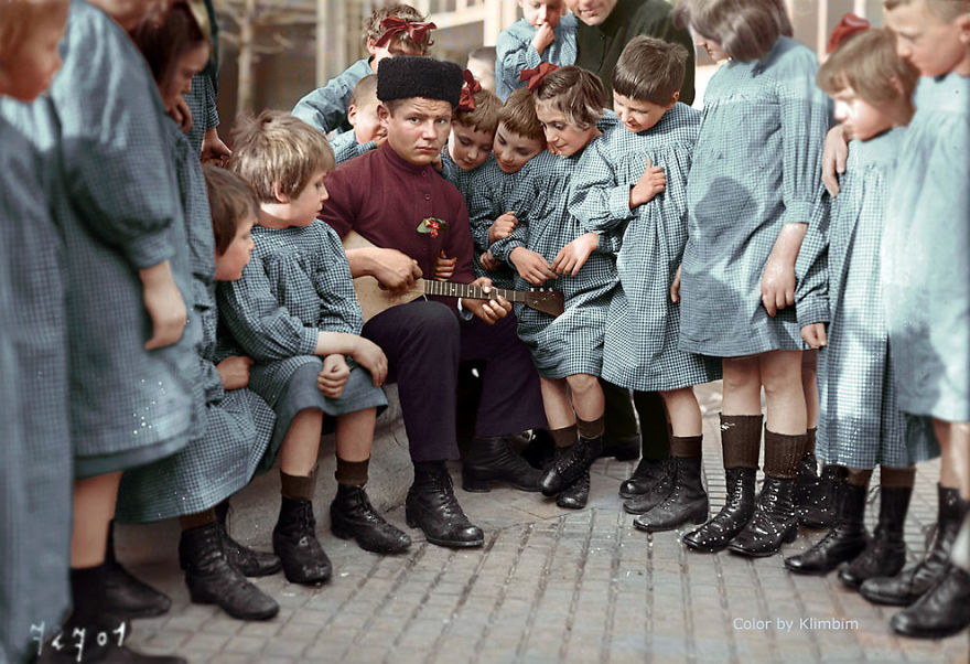 A Man With A Group Of Russian Children, 1940