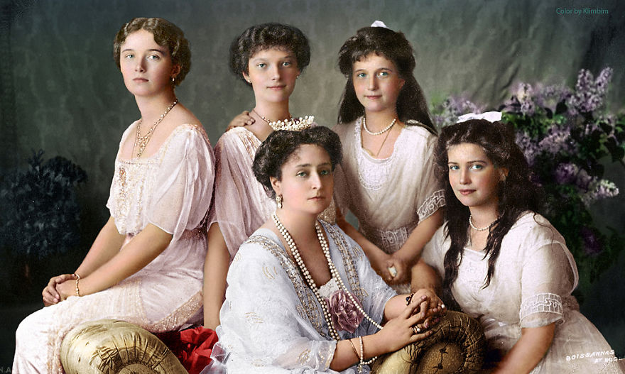 The Four Romanov Daughters With Their Mother Tsarina Alexandra, 1913