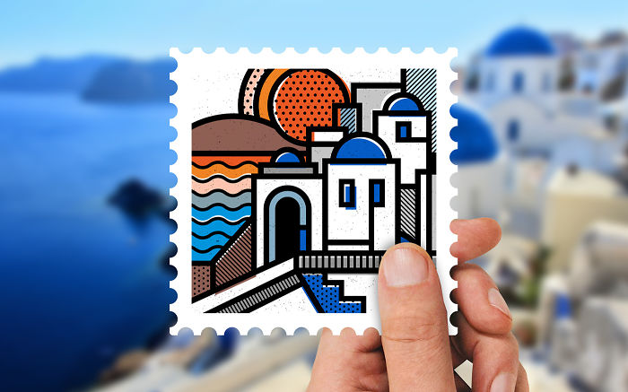 I Created Abstract Stamps Of Greece's Iconic Landscapes