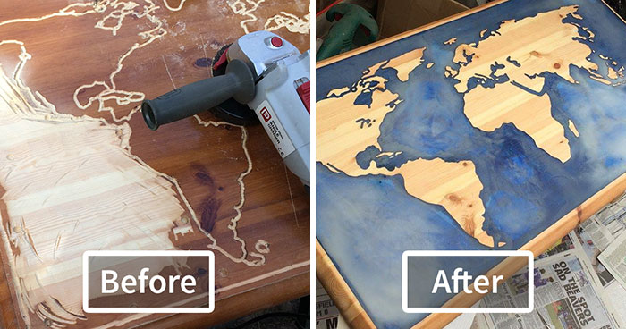 I Turned My Old Coffee Table In A Glow-In-The-Dark Epoxy Map Of The World