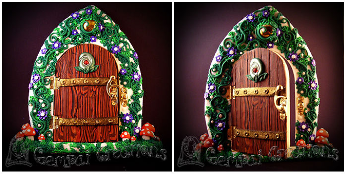 I Made This Gorgeous Enchanted Forest Fairy Door Using Polymer Clay On A Wooden Base.