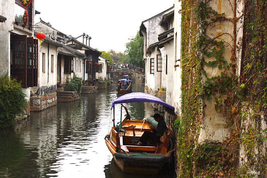 A Small Floating Village Near Shanghai, China