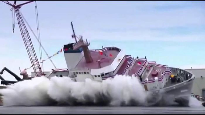 Epic Big Ship Launches And Fails