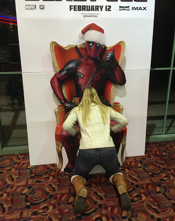 A Standee In The Movie Theater Said To Take A Pic In Deadpool's Lap. I Took It A Different Direction