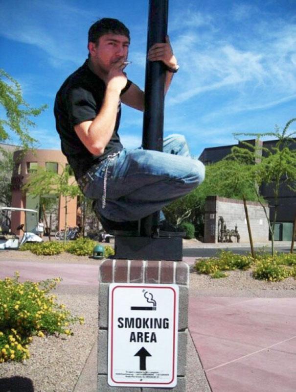 Smoker With Good Climbing Skills