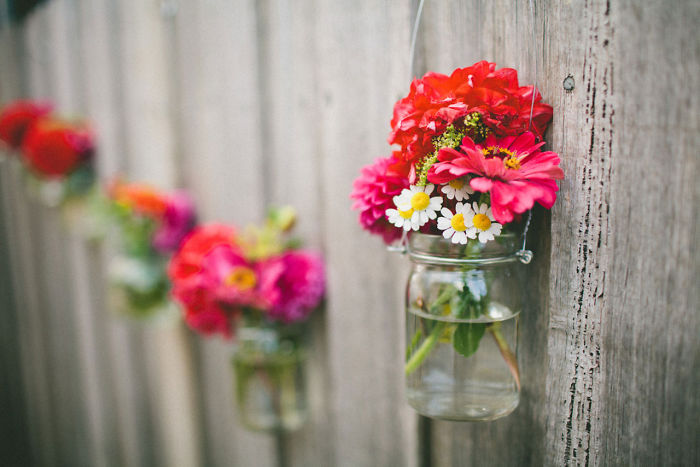Mason Jar Vases Fence Decor