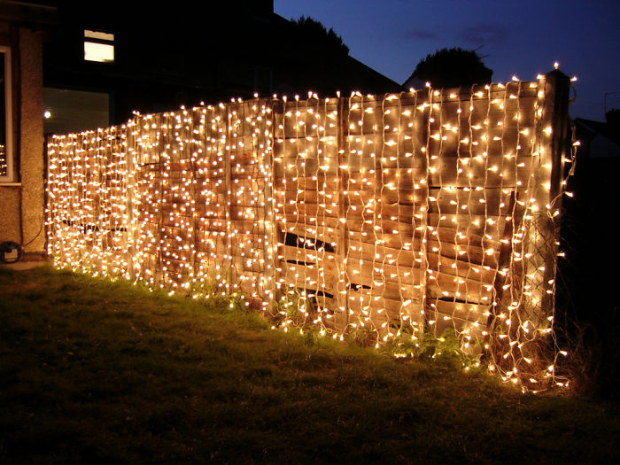 Christmas Lights Fence Decor