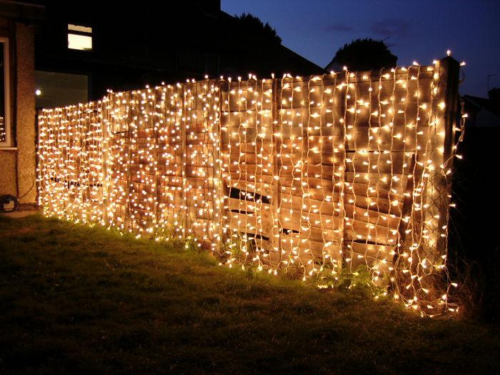 Christmas Lights Fence Decor