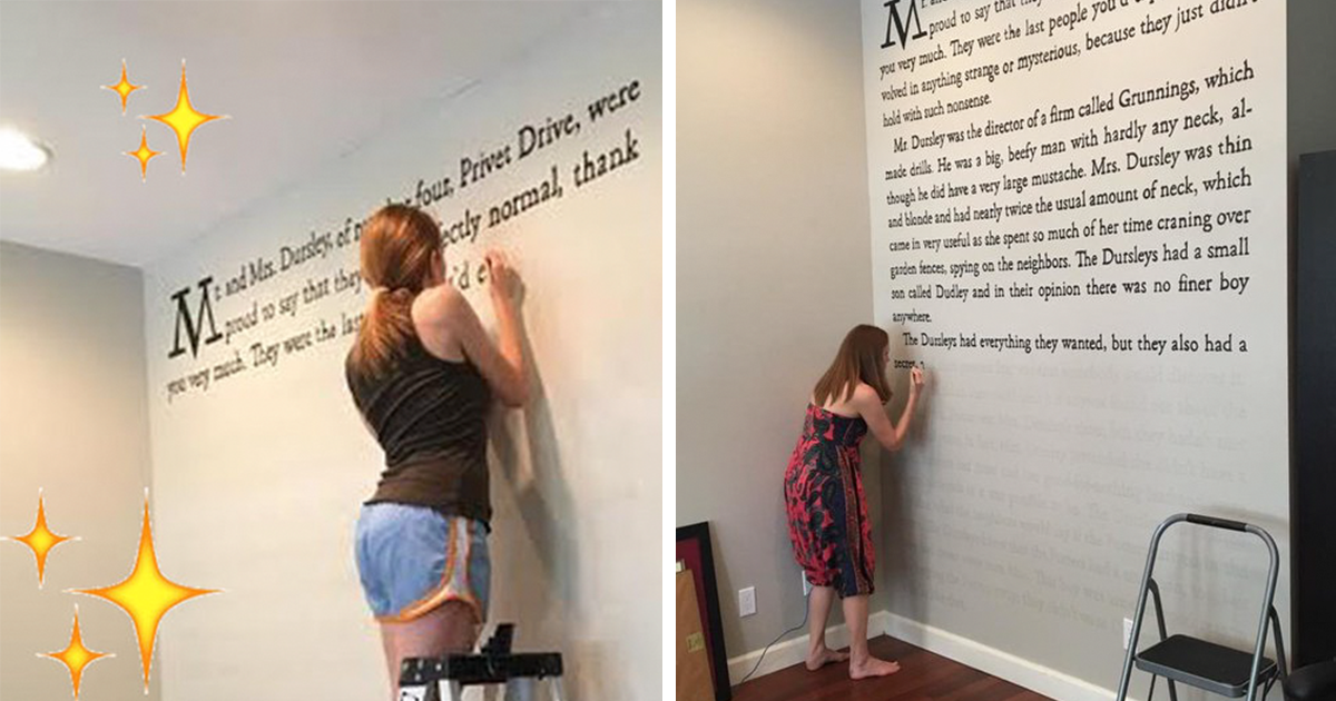 """Harry Potter Fan Paints First Page Of """"Sorcerer\'s Stone"""" Onto Her ..."""