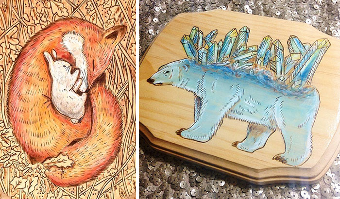 I Make Wood Burned Whimsical Art On Real Tree Slices