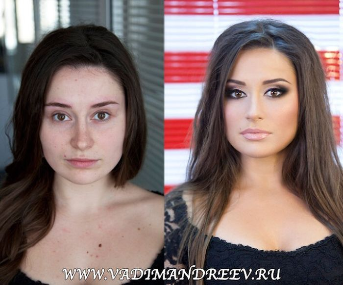 Female With And Without Makeup.