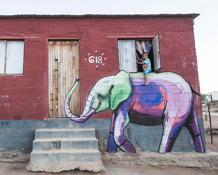Elephant Street Art In South African Villages To Give People Hope (11+ Pics)
