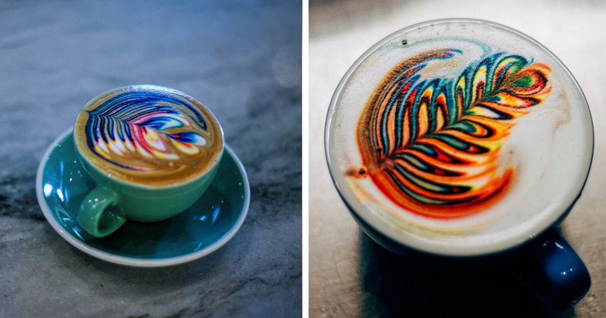 Barista Creates Colorful Latte Art Using Food Dye | Bored Panda