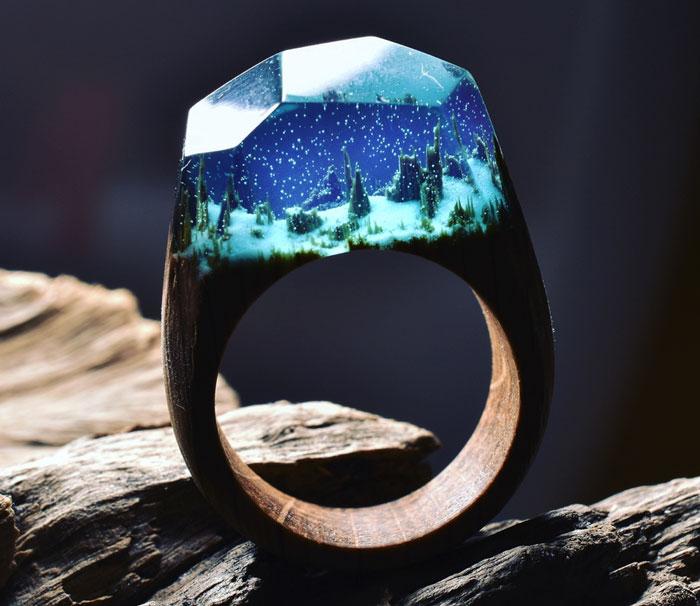 Miniature Worlds Inside Wooden Rings By Secret Wood
