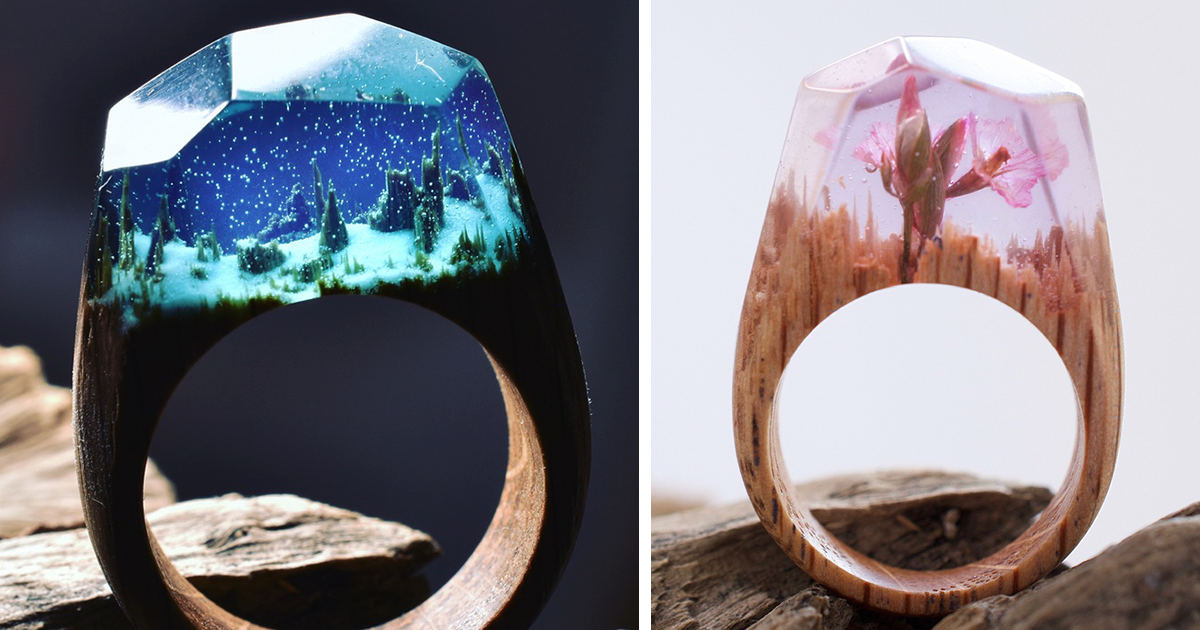 Glow In The Dark Secret Wood Rings