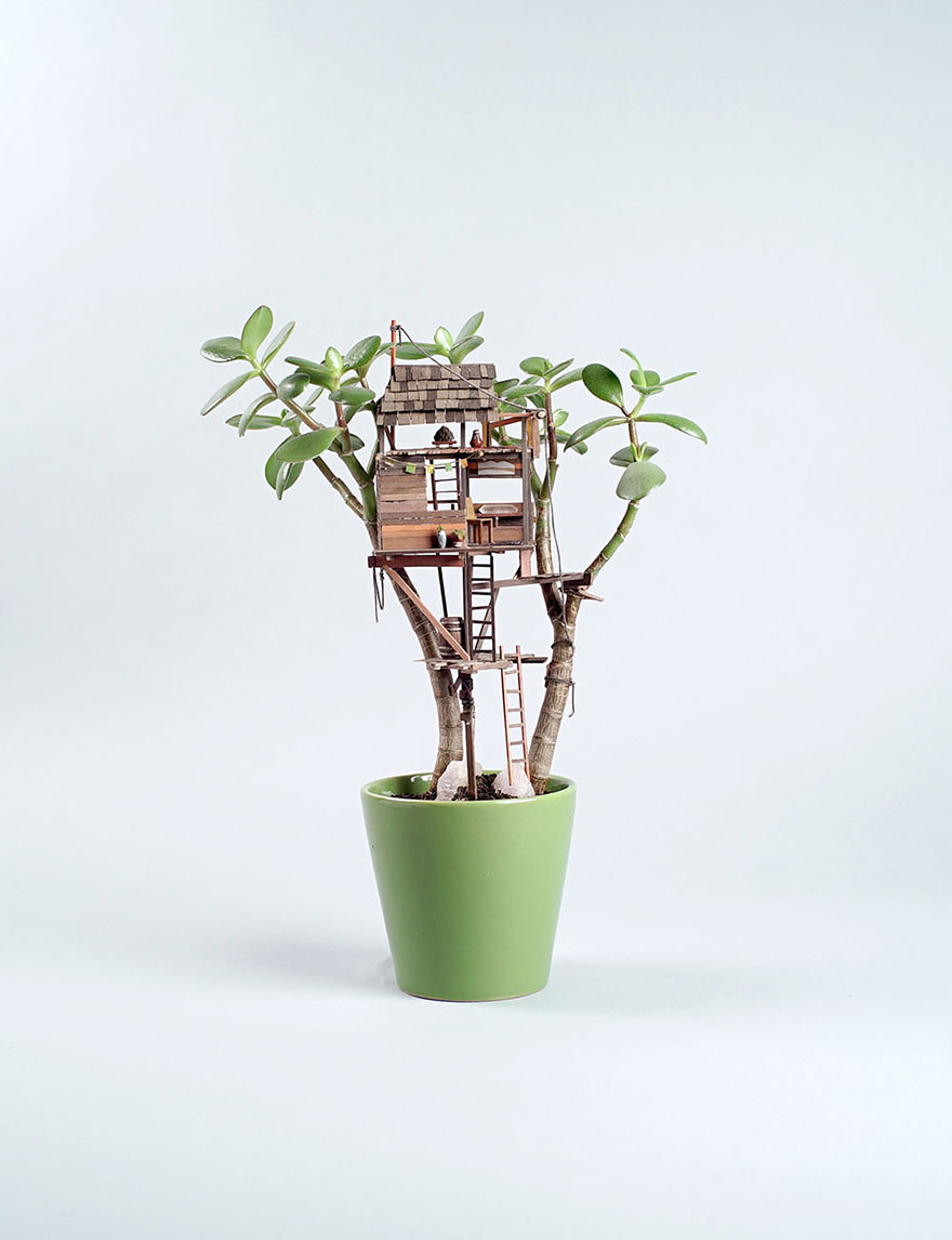 miniature tree houses for houseplants are just perfect for