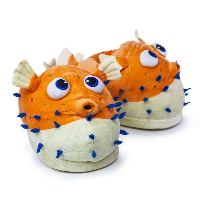 Giant Pufferfish Slippers Puts Your Boring Old Slippers To Shame