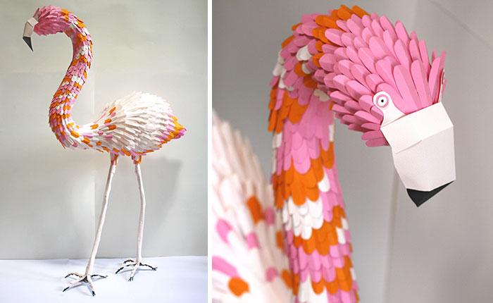 I Made This Hand-Cut Paper Flamingo