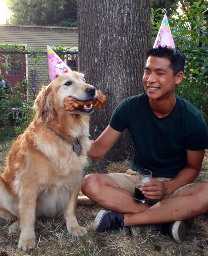 My Roommate Has The Sweetest Golden Ever. Here's A Picture From Our Joint Birthday Party Back in August