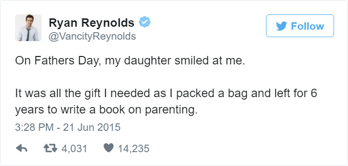 Ryan Reynolds Parenting Tweets