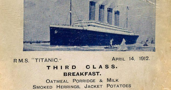 Titanic Food Menus For 1st 2nd And 3rd Class Passengers Bored Panda